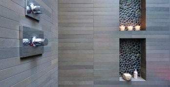 Bathroom remodel Shower-Niche-Pebble Tile Accent