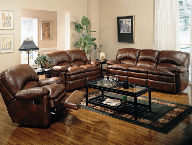 Brown leather sofa Coaster-Walter-60033