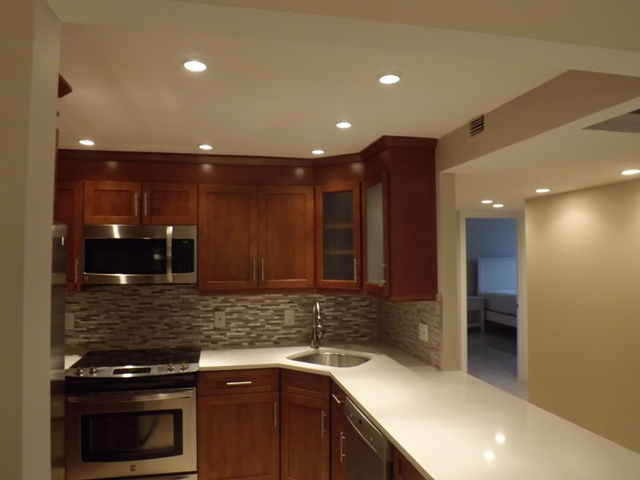 recessed lights in kitchen and hallway