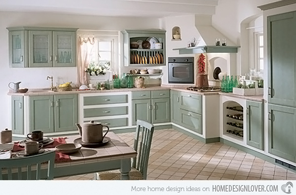 Vintage Kitchen Teal Green Cabinets