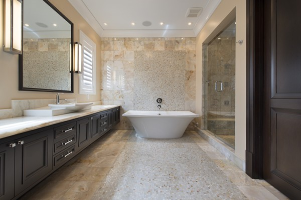 Pompano Beach Luxury Bathroom - free standing tub