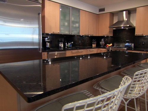 Black marble kitchen countertop