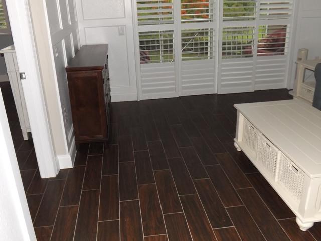 Porcelain wood plank tiles
