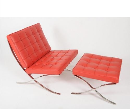 Red Barcelona Chair - Pavillion chair -