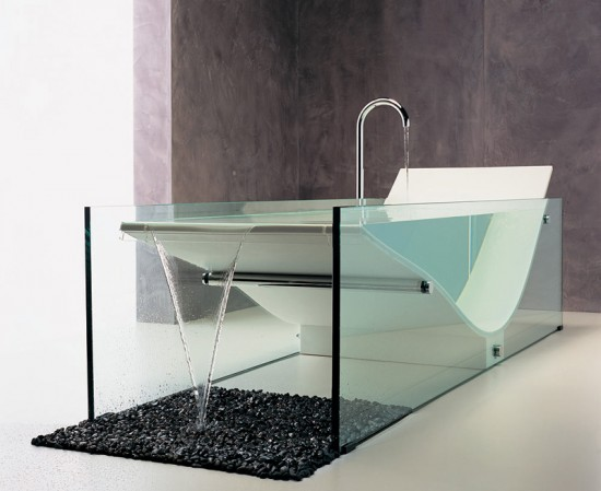 Glass Bathtub bathroom design trends - glass bathtubs - donco designs