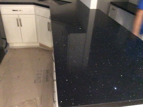 Stellar Black Quartz Kitchen Countertop