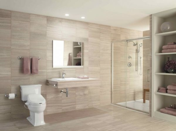 wall hung vanity barrier free shower