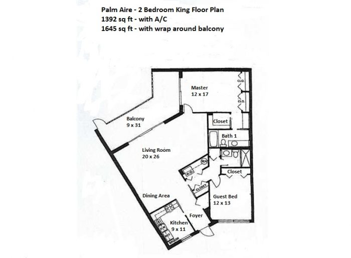 palm aire king 2 bed floor plan