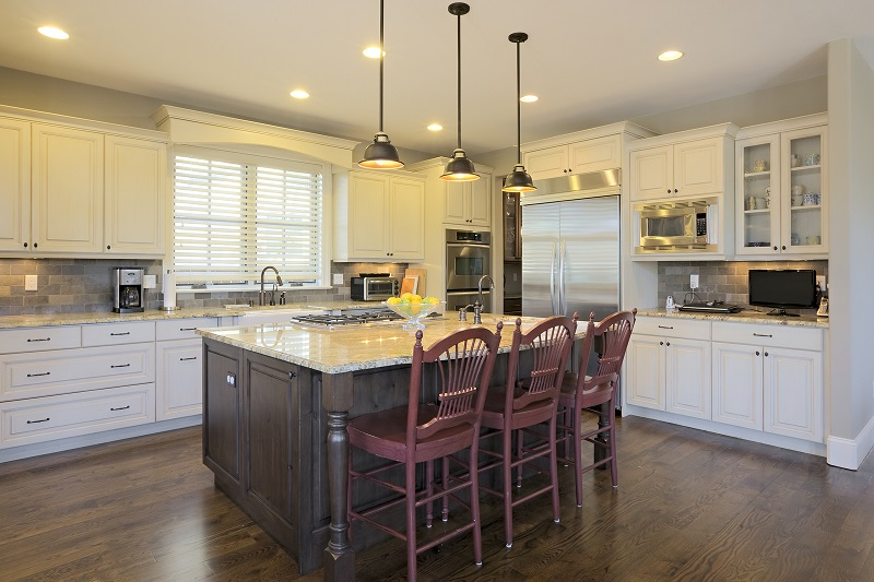 Two Tone Kitchen Island - white cabinets brown Island