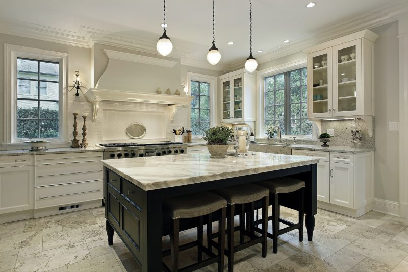 Two Tone Kitchen Island modern Kitchen iwith Granite countertop