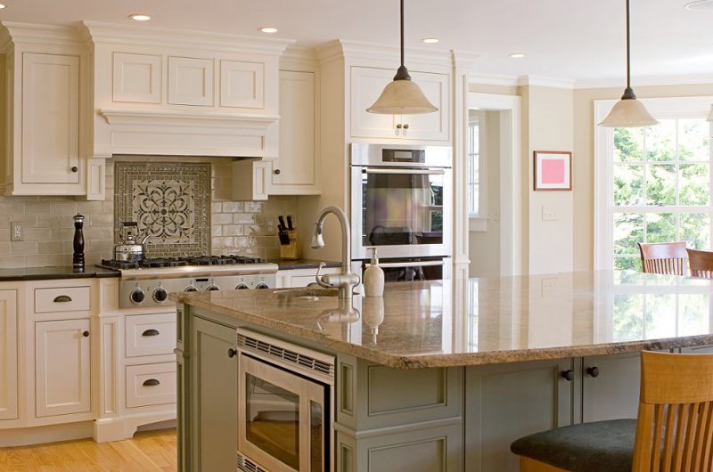 Kitchen island with microwave and seating