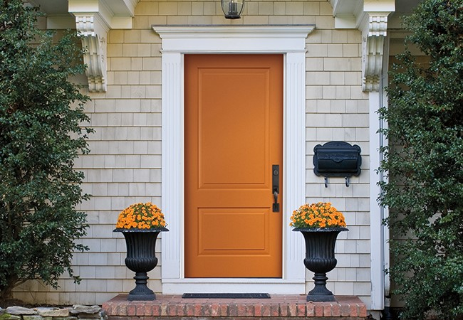 2 panel smooth sold door - Pella