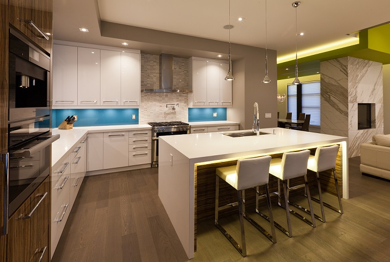 Modern kitchen with floating ceiling