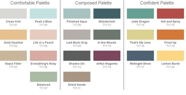 Behr 2017 Paint Color Trends Color Palette Collections